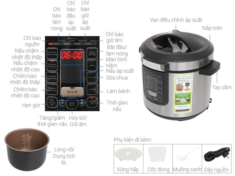 Nồi áp suất điện Philips HD2137 giúp gian bếp trở nên sáng và hiện đại