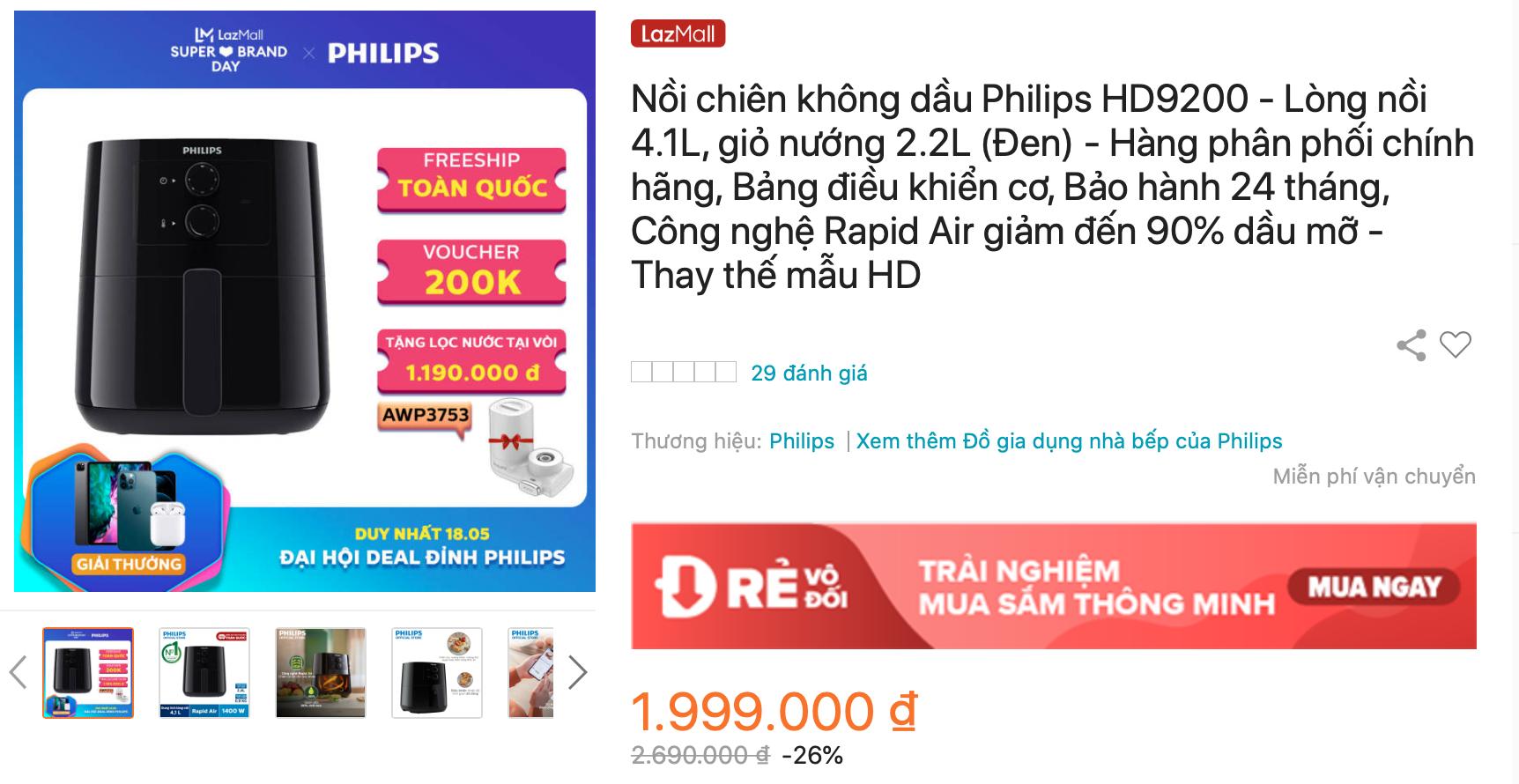 Nồi chiên không dầu Philips HD9200
