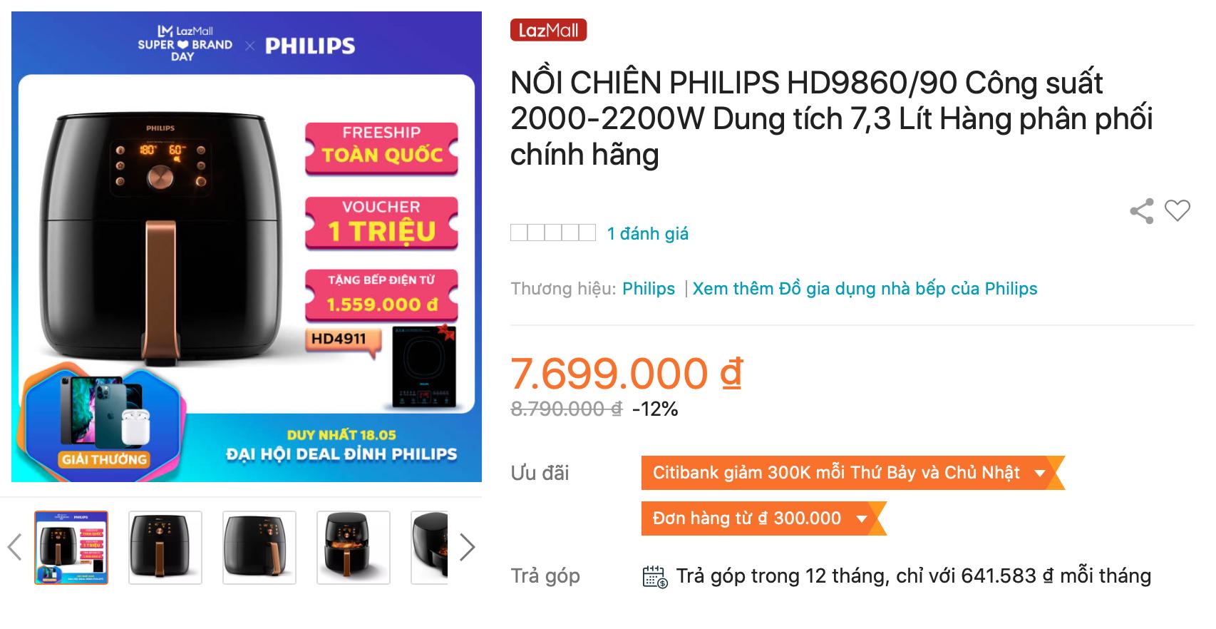 Địa chỉ mua sắm nồi chiên không dầu Philips HD9860/90 chính hãng