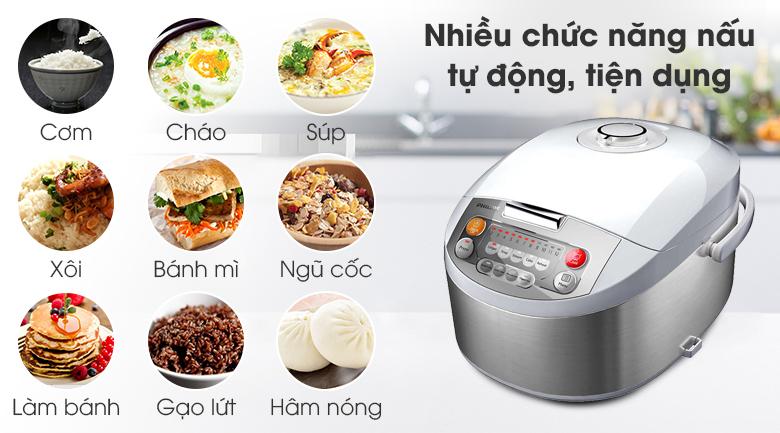 Nối cơm điện tử Philips rất đa dạng chức năng nấu nướng