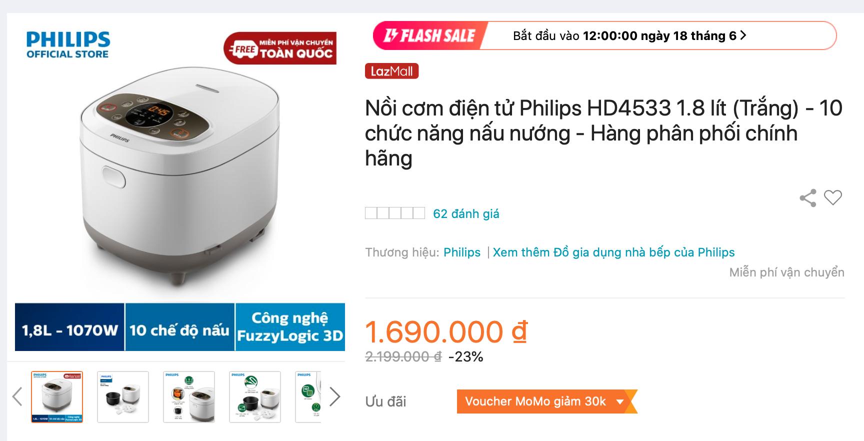Nồi cơm điện Philips HD4533 được bán trên Lazada với giá cực tốt