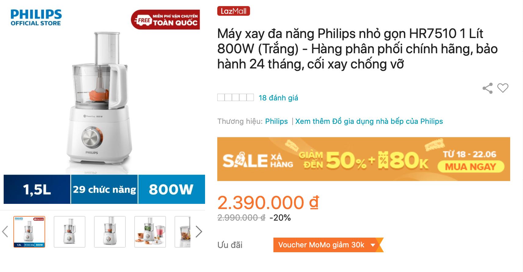 Máy xay đa năng Philips HR7510 giảm giá trên Lazada