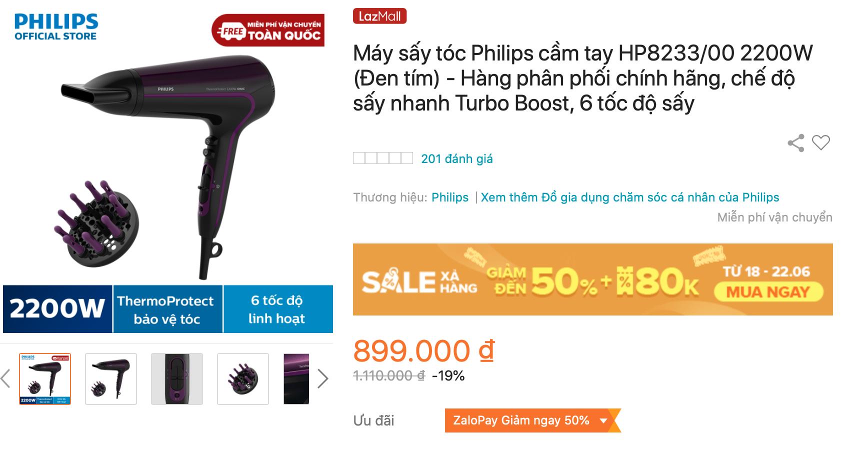 Máy sấy tóc Philips cầm tay HP8233/00 sấy nhanh Turbo Boost 6 tốc độ